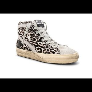 Golden Goose leopard pony hair high tops
